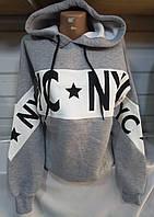 Батник на флисе с капюшоном женский NYC (ПОШТУЧНО), фото 1