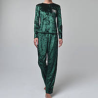 Женская пижама штаны/кофта мраморный велюр M-7028 зеленая