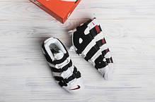 Мужские кроссовки в стиле Nike Air More Uptempo White/Black, фото 2
