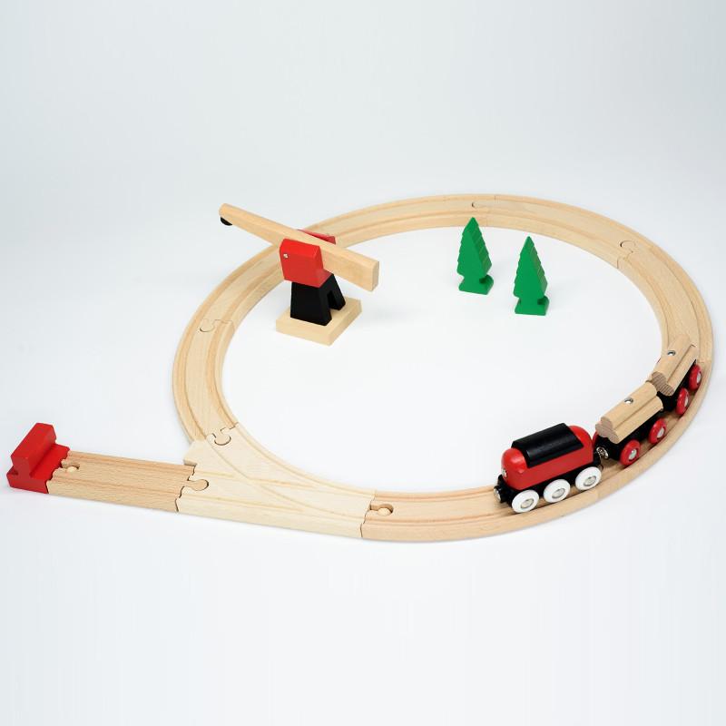 Железная дорога BRIO Деревянная ж/д с краном, 18 элементов 33010