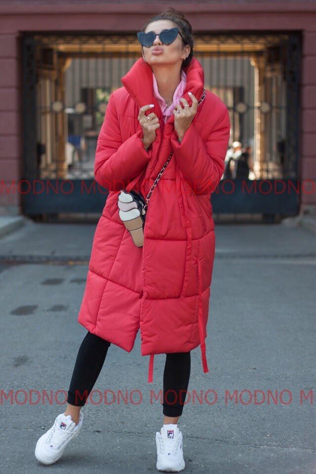 Женский стильный зимний пуховик-одеяло на завязках,красного цвета