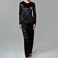 Женская пижама штаны/кофта мраморный велюр M-7058 черная, фото 1