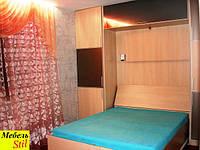 Шкаф-кровать подъемная с темными зеркалами