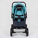 Детская коляска-трансформер 2в1 темно-серая с бирюзой Viki 86 Karina сумка дождевик люлька детям с рождения, фото 4