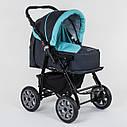 Детская коляска-трансформер 2в1 темно-серая с бирюзой Viki 86 Karina сумка дождевик люлька детям с рождения, фото 5