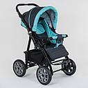 Детская коляска-трансформер 2в1 темно-серая с бирюзой Viki 86 Karina сумка дождевик люлька детям с рождения, фото 6
