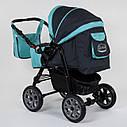 Детская коляска-трансформер 2в1 темно-серая с бирюзой Viki 86 Karina сумка дождевик люлька детям с рождения, фото 3