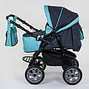 Детская коляска-трансформер 2в1 темно-серая с бирюзой Viki 86 Karina сумка дождевик люлька детям с рождения, фото 2