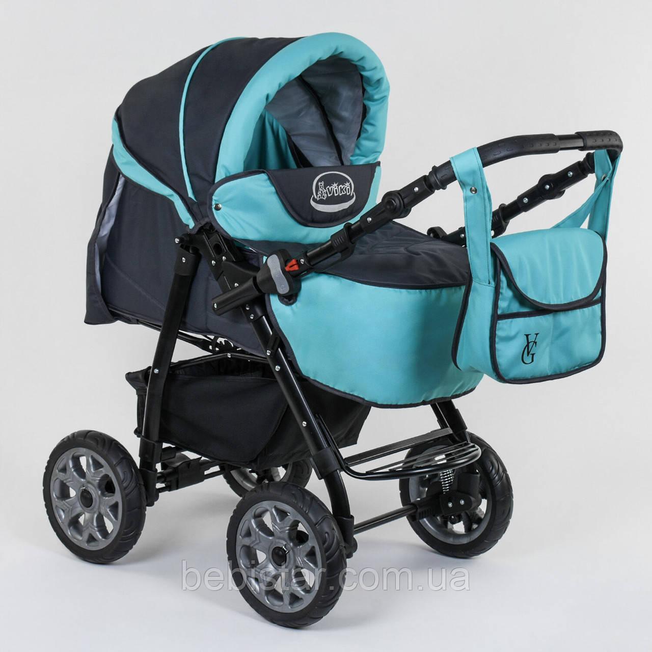Детская коляска-трансформер 2в1 темно-серая с бирюзой Viki 86 Karina сумка дождевик люлька детям с рождения