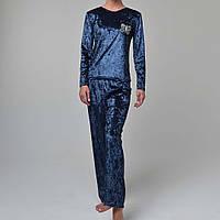 Женская пижама штаны/кофта мраморный велюр M-7068 темно-синяя, фото 1