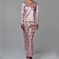 Женская пижама штаны/кофта мраморный велюр M-7078 пудра, фото 1