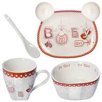 """Посуда детская """"Baby Girl 2"""" 4пр/наб (тарелка 16*13см,супница 12см,чашка 200мл,ложка) B26693 (18наб) Н"""
