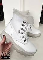 Тёплые ботиночки на высокой подошве натур мех-дублёнка Код 109, фото 1