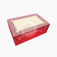 Упаковка для 6 кексов и маффинов - С Рождеством - 250х170х80 мм