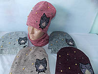 """Ангоровая шапочка на тёплой флисовой подкладке принт """"СОВА"""",+жемчуг. р 52-54. Тёплая шапка на девочку. ФЛИС, фото 1"""