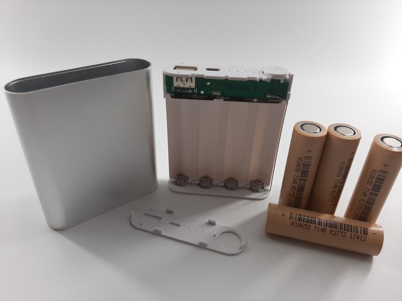Корпус power bank. 5 В 1.0A бокс на 4X18650 в комплекте с аккумуляторами DLG 18650 2600 мА - 4 шт