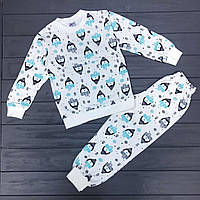 Пижама теплая начес детская (унисекс) оптом р.5-8 лет