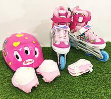 Ролики раздвижные «ROONEY COMBO» + защита ноги, руки и шлем (р-р 32-35 розовые)