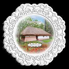 """Тарелка деревянная 23 см Етнографічний  комплекс  """"Українське село"""""""