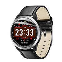 Умные часы Lemfo N58 Leather с измерением давления и ЭКГ (Черный), фото 1