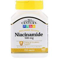 "Ниацинамид, 21st Century ""Niacinamide"" водорастворимый витамин B3, 500 мг (110 таблеток)"
