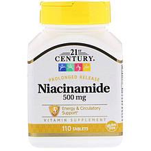 """Ніацинамід, 21st Century """"Niacinamide"""" водорозчинний вітамін B3, 500 мг (110 таблеток)"""