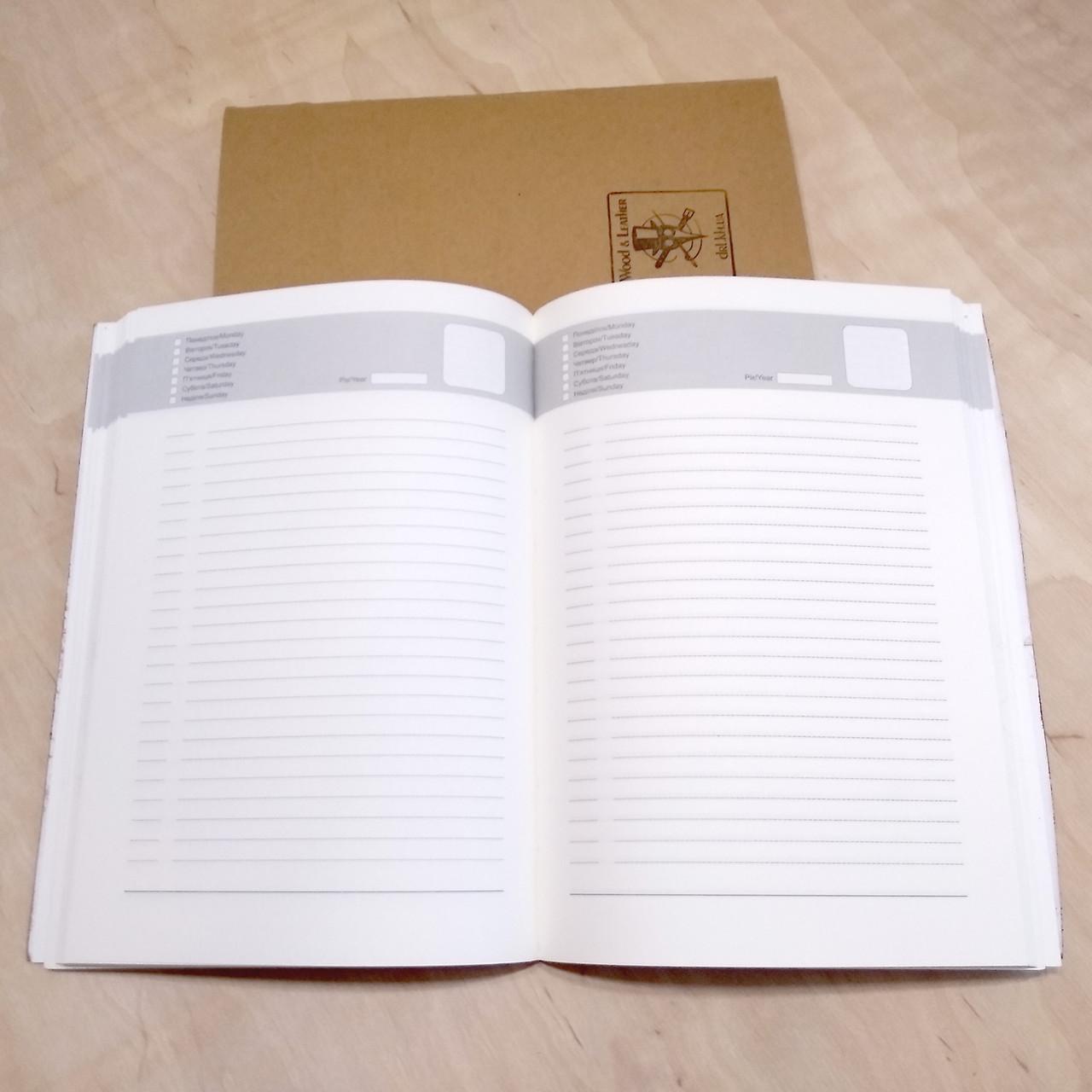Блок не датированного ежедневника формат А5 для кожаных блокнотов