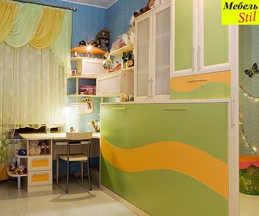 Стенка в детскую со столом и шкаф-кровать трансформер, фото 1