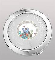 Зеркальце посеребренное из металла круглой формы с легким рисунком в виде ветви со стразами