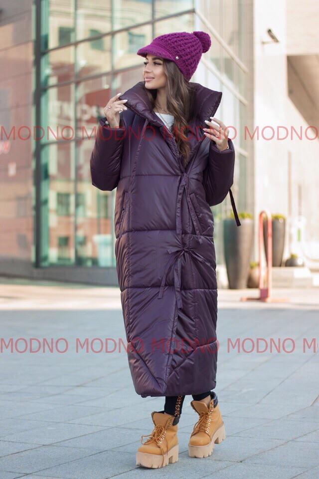 Женский зимний длинный теплый пуховик-одеяло