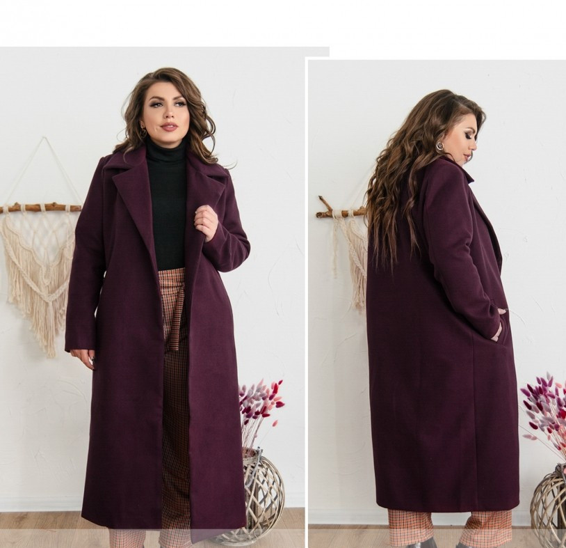 / размер 48-50,52-54,56-58 / Женское невероятно женственное красивое пальто 318-1-Марсала