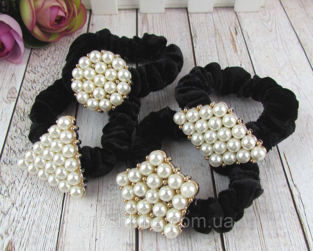 Оксамитові гумки для волосся з перлами 12 шт/уп. чорні