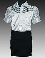 Красивая школьная блузка для девочки из атласа