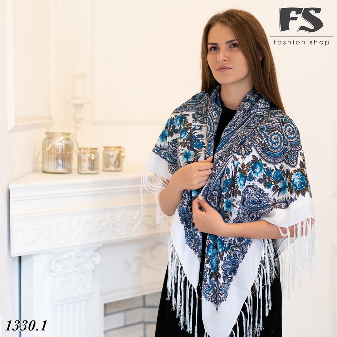 Павлопосадский белый платок  Рококо