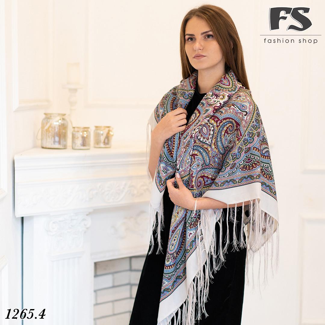 Кремовый павлопосадский шерстяной платок Таира