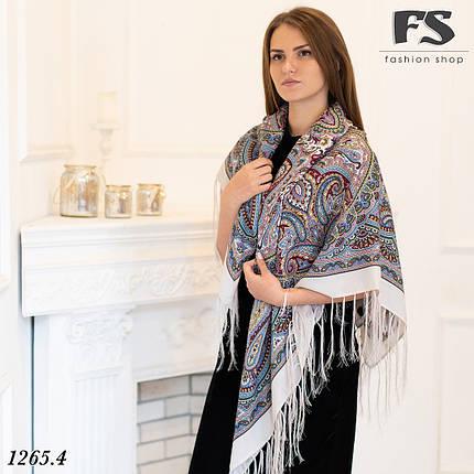 Кремовый павлопосадский шерстяной платок Таира, фото 2