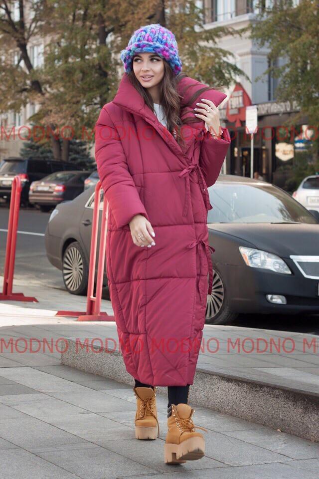 Женский зимний длинный теплый пуховик-одеяло на завязках,бордового цвета