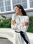 Женское вязаное белое платье с расклешенным низом и поясом (в расцветках), фото 2