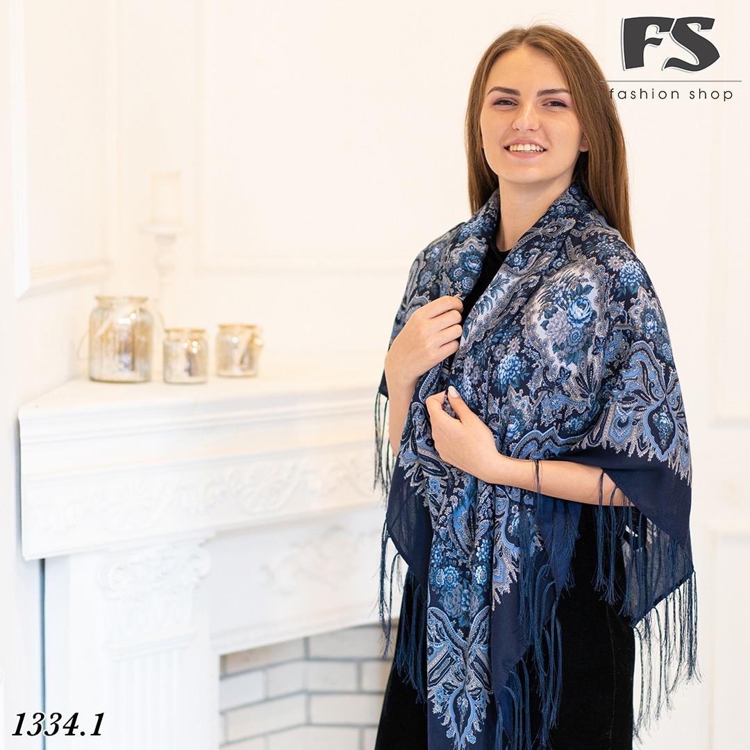 Павлопосадский тёмно-синий платок Южанка