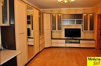 Стенка в спальню или гостинную с шкаф-кроватью, фасады с  зеркалами, фото 1