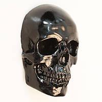 Череп гипсовый, маска на стену, декоративный, черного цвета, в натуральную величину под роспись