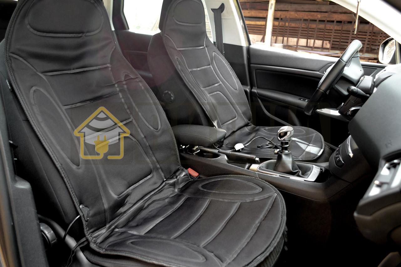 Накидка на сиденье с подогревом высокая черная, Lavita LA 140402BK