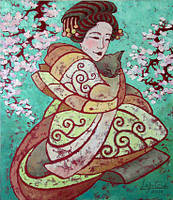 Картина на японскую тематику Отдых под сакурой