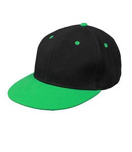 Кепка Cнепбек Чёрный / Ярко-Зелёный