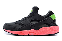 Кроссовки Nike Huarache черные на розовой подошве