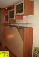 Горизонтальная шкаф-кровать со шкафом-купе с зеркалами
