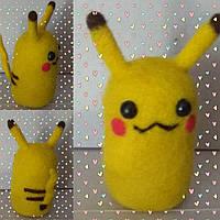Валяная игрушка Пикачу из шерсти милый подарок теплая прелесть