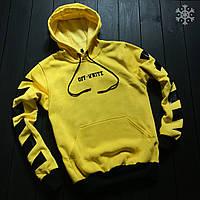 Спортивная теплая худи/толстовка. Зима/Флис. Желтая