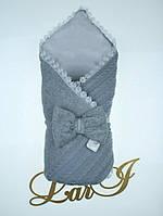 """Конверт-одеяло """"Дуэт"""" на выписку, в коляску/ кроватку для новорожденного. Серый"""