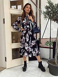 Женское элегантное романтическое платье в стиле Valentino с рюшами цветочный принт